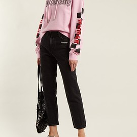 OFF-WHITE - Belted straight-leg cropped jeans