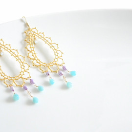 Ostara - 16k Gold Plated Laced Teardrop Earrings/Amazonite,Real Pearl