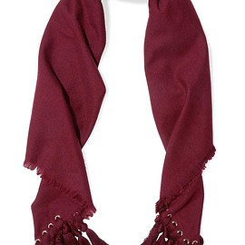 Chloé - Eyelet-embellished tasseled wool, silk and cashmere-blend scarf