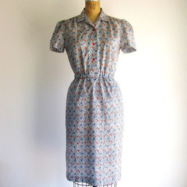 Vintage 80s Dress Novelty Print Dot Chevron Stripe 1980s Secretary Day Dress S/M