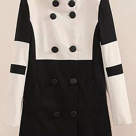 Double Breasted Epaulet Black and White Coat pictures
