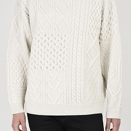 LAD MUSICIAN - CABLE CREW NECK PULLOVER KNIT
