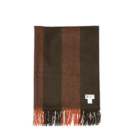 Johnstons - WA000056 Cashmere Stole-Green&Rust Stripe