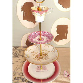 Vintage Plate Cake Stand or Jewelry Stand (Wine & Hot Pink / 4Tier)