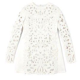 VALENTINO - Agnello Long Sleeved A-Line Cut Out Embroidered Dress