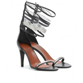 Isabel Marant - Black leather sandals with mixed media ankle straps