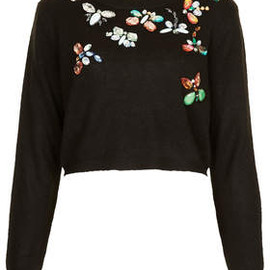 TOPSHOP - Knitted Butterfly Crop Jumper
