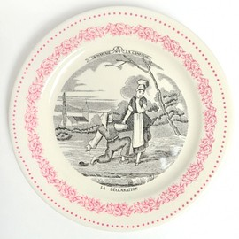 Gien France - MARRIAGE BISCUIT PLATE SET IN PINK