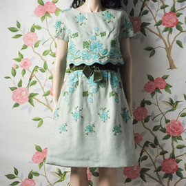 persephonevintage - vintage 50s embroidered day dress