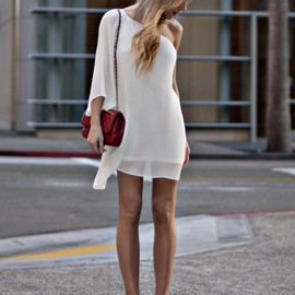 street - street style / white mini dress