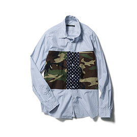 SOPHNET. - FABRIC MIX WORK POCKET REGULAR COLLAR SHIRT