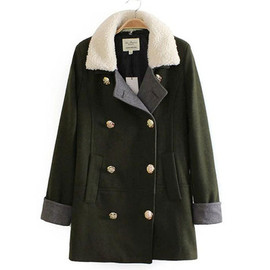 coat - Leisure simple double breast warm plush spliced worsted coat
