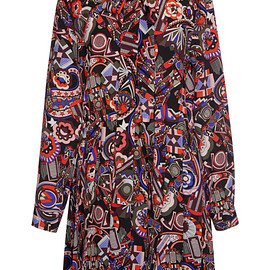 MSGM - Pre-Fall 2015 Robot Mix Print Crepe De Chine Dress