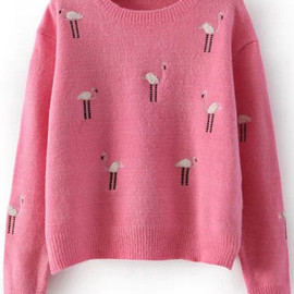 Ostrich Embroidered Pink Sweater pictures