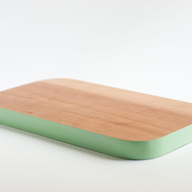 SilverPineWoodworks - Small Birch Cutting Board with Mint Green