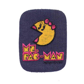 Vintage Ms Pac Man Iron On Patch Embroidered On Denim