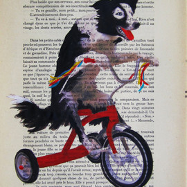 Coco de Paris - cocodeparis ユニークアート Doggy on red bicycle