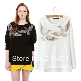 Bird Embroidered Pullover