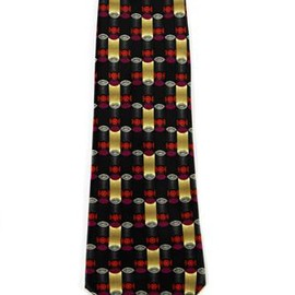 VINTAGE - Lanvin Paris Geometric Print Black Silk Necktie Menswear Made in France EUC