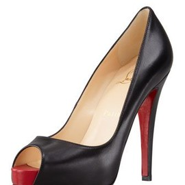 Christian Louboutin - Very Prive Leather Platform Red Sole Pump, Black by Christian Louboutin at Neiman Marcus.