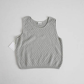 vintage - 100% cotton tank | knit tank top | light grey sweater top