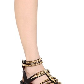 GIVENCHY - 20MM STUDDED SHINY LEATHER CAGE SANDALS