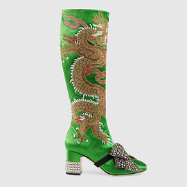 GUCCI - Pre-Fall 2017 Dragon satin mid-heel knee boot