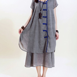 dress - cotton Loose Fitting comfort long dress Two layers  large size dress