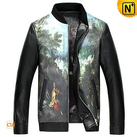 cwmalls - California Men Printed Leather Motorcycle Jacket CW890025