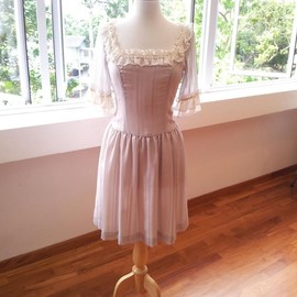 Luulla - Marie Antoinette Dress - Romantic, Grey Dress with Lace and Silk Chiffon trimming