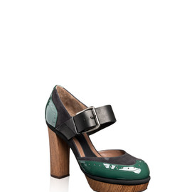 MARNI - Patent-leather and suede wooden pumps