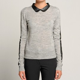 Maje - leather collar sweater