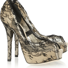 DOLCE&GABBANA - Lace-covered satin pumps