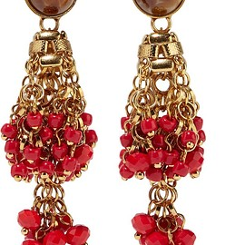 Etro - Gold-plated, bead and crystal earrings