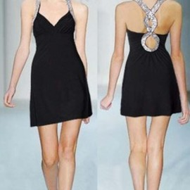 black blue infinity love sexy V neck shining dress