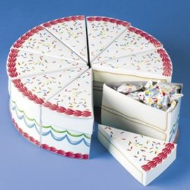 Birthday Cake Slice Treat Boxes (10PC)