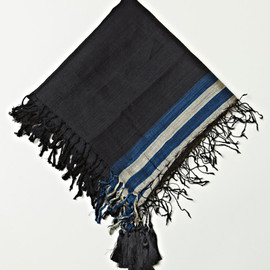 DRIES VAN NOTEN  - MEN'S SHEER SILK ARTISAN SCARF WITH TASSELS