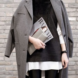 gray coat over black & white