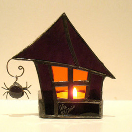 FleetingStillness - Stained Glass Candle Holder Halloween Goth Purple Orange 2 Handmade OOAK