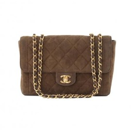 CHANEL - CHANEL VINTAGE SUEDE BROWN SHOULDER