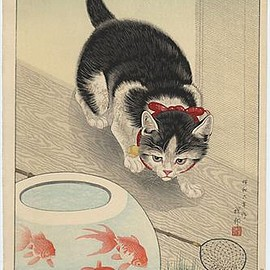 小原古邨 - Cat and Bowl of Goldfish