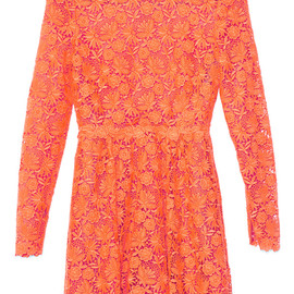 VALENTINO - Orange Fluo Fluo Garden Guipure Dress