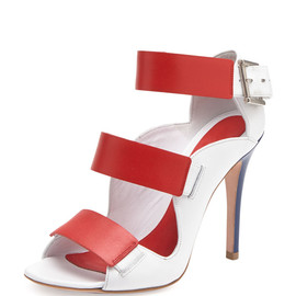 Alexander McQueen - SS2014 Triple Band Leather Sandal, Red/Ivory