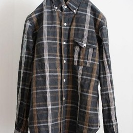Waste(twice) - madras check button down shirt