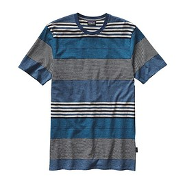 patagonia - Men's Daily Tee - Textured Fitz Stripe: Channel Blue