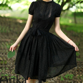 HandTailorByArtka - Black silk Tunic Dress A06876