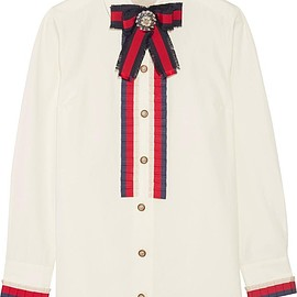 Gucci - Embellished grosgrain-trimmed cotton-poplin shirt