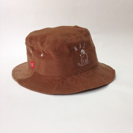 MAS. - CORDUROY BUCKET HAT [Dark beige×White]