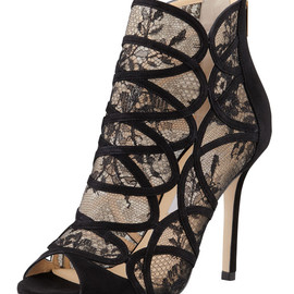 JIMMY CHOO - Fauna Lace-Suede Cage Sandal