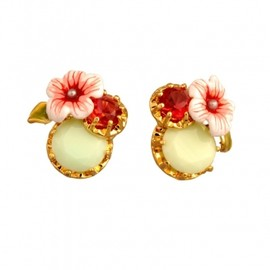 Les Nereides - ECLATANTE DISCRÉTION EARRINGS: ROUND STONE, FLOWER AND STRASS 1